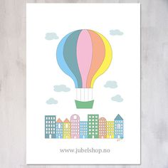 Jubel - A3 Poster, City Air Balloon, 297 x 210 cm matte paper, by Jubelshop on Etsy. www.jubelshop.no