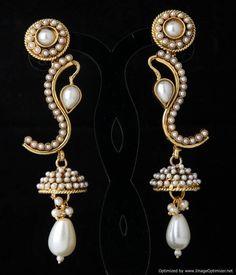 Indian Bollywood Designer Fashion Jewelry Traditional Pearl Work Jhumka Earrings #VGJewel
