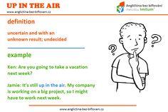 """Pokud se vaše nadcházející plány nacházejí """"UP IN THE AIR"""", znamená to, že jsou neurčité a s neznámým výsledkem. ❓😟❓ #anglictina #idiom Might Have, Big Project, Definitions, Up"""