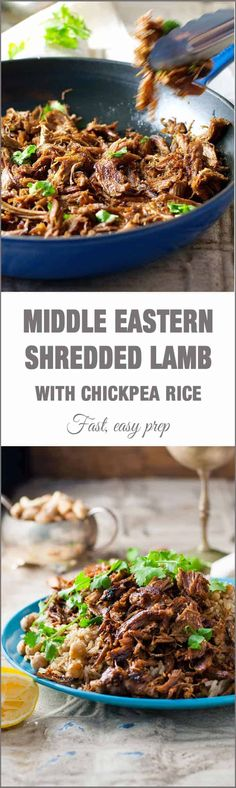 It says easy and of my favorite cooking terms. Middle Eastern Shredded Lamb with Chickpea Pilaf (Rice) - easy and fast to prepare, with everyday ingredients. Lamb Recipes, Meat Recipes, Dinner Recipes, Cooking Recipes, Healthy Recipes, Slow Cooking, Middle East Food, Middle Eastern Dishes, Gastronomia