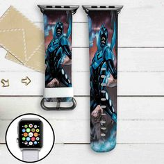 Blue Beetle DC Comics Custom Apple Watch Band Leather Strap Wrist Band Replacement