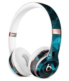 Turquoise and Black Geometric Triangles Full-Body Skin Kit for the Beats by Dre Solo 3 Wireless Headphones, Audio Rooms,