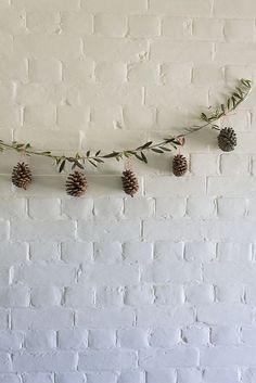 olive branch & pinecone garland