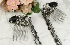 Vintage Jeweled Hair Combs with Draping by myboutiquebijou on Etsy