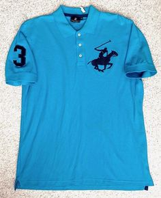 New Mens(XL) BEVERLY HILLS POLO CLUB PIQUE POLO T-SHIRT Aqua-Blue&Black Big-Pony #BeverlyHillsPoloClub #PoloRugby