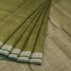 Handwoven Green Linen Saree With Temple Border 10015728 - AVISHYA.COM