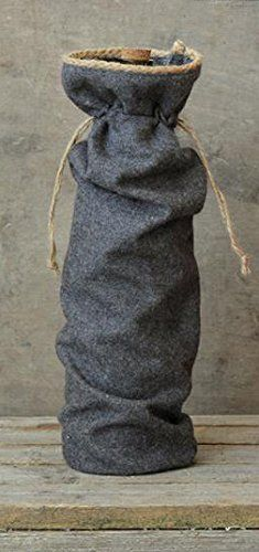 Grey Fabric Wine Bag with Tweed Edge -- Click affiliate link Amazon.com on image for more details.