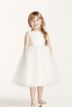 Brides: David's Bridal. See more Flower Girl dresses at David's BridalTea-length tulle ball gown with ribbon waist.