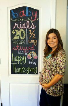 Raising Rials: Thanksgiving, 20 weeks, halfway! #pregnancychalkboard #20weekspregnant #pregnancyblog