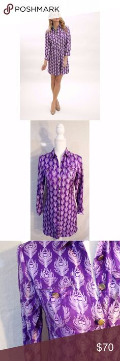 Elizabeth Mckay Purple Peacock Feather Shirt Dress Shirt dress style. Purple peacock design. Gold buttons with designs down the front. Tiny round gold beads at cuff. Pockets with buttons each side of chest. GREAT used condition. Pet Friendly + Smoke Free Home. Elizabeth McKay Dresses