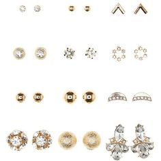 Charlotte Russe Gold Diamante, Stone, & Globe Stud Earrings - 12 Pack... (140 UAH) ❤ liked on Polyvore featuring jewelry, earrings, gold, stud earrings, stone jewelry, charlotte russe earrings, diamante earrings and yellow gold earrings