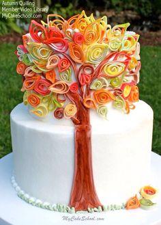 Autumn quilling cake