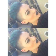 Pixie blue hair