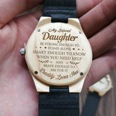 Daughter quotes - To my daughter always remember that mommy loves you engraved maple wood watch Birthday Quotes For Daughter, Mother Daughter Quotes, Birthday Gift For Him, Mother Quotes, To My Daughter, Daughters, Son Quotes, Family Quotes, Birthday Crafts