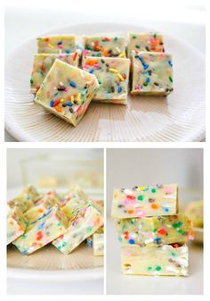 Cake Batter Fudge - sprinkles, cake mix, butter. If you love to lick the bowl of cake batter, you will love this stuff!