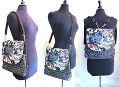 graffiti art tote bag, black messenger bag converts to backpack, cross body purse, shoulder handbag