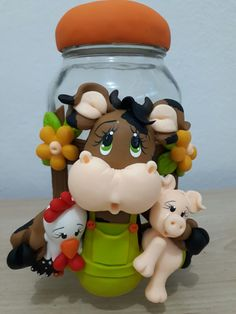 Cow Decor, Clay Jar, Yarn Dolls, Decorated Jars, Expecting Baby, Monsters Inc, Polymer Clay Projects, Salt Dough, Cold Porcelain