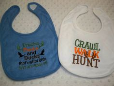 Trucks, Bucks, and Ducks, That's What Little Boys Are Made Of, Crawl Walk Hunt - Hunting Baby Bib Hunter - Baby Boy Deer & Duck Hunting Bib Baby Boy Camo, Ducks, Trending Outfits, Handmade Gifts, Vintage, Etsy, Kid Craft Gifts, Craft Gifts, Vintage Comics