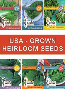 Heirloom Non GMO Vegetable Seeds KIT with High Germination + Online Gardening Class & Bonus 25oz Smoothie Jar. Plant Fresh USA Grown Seeds for Your Organic Kitchen Garden. With this kit you can produce up to 1,000 plants which you can harvest from spring to fall! That is why we love leafy greens you can grow over multiple seasons. There is nothing like harvesting Kale, Spinach, Collards, Lettuces and Swiss Chard from your own vegetable garden - yum! Great HEIRLOOM SEED KIT! #HeirloomSeeds