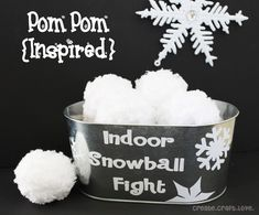 Indoor Snowball Fight with Pom Poms. How much fun would this be for the little ones during a family gathering?
