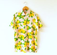 Vinage Silk Lemon Blouse / Retro Button Down Silk Shirt / Made in Germany / Fruity Vintage Blouse by thehappyforest on Etsy