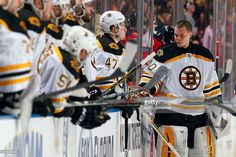 Goaltender Tuukka Rask #40 of the Boston Bruins cools off by the bench during a break in the action against the Florida Panthers at the BB&T Center on April 9, 2015 in Sunrise, Florida.