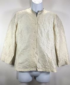 49.95$  Buy now - http://viluk.justgood.pw/vig/item.php?t=pqkht032468 - Eileen Fisher Small Women's Top 100% Silk Crinkle Button Down Cream Ivory 49.95$