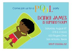 African American Swimming Boy Invitation from Picture Perfect