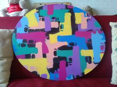Abstract guns oval canvas painting,pop art,revolver,stencil art,spray paint art,yellow,pink,green,blue,pop culture,wall art,graf,street art by AbstractGraffitiShop on Etsy