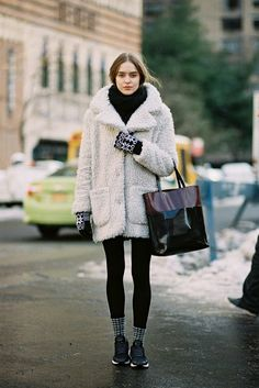 After A Show, NYC, February 2014. A fluffy coat to snuggle in for the snow days! Recreate her...