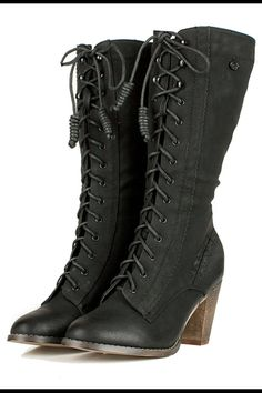 Black Semi Round Toe Lace Up Boots /Steampunk/Victorian/Western Retro footwear, Rockabilly Shoes, Vintage Black Cowgirl Boots, Black Mid Calf Boots, Black Lace Up Boots, Western Boots, Goth Boots, Lace Up Heel Boots, Shoe Boots, Shoes Heels, Heeled Boots