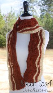 Bacon Scarf - Free crochet pattern by Shelley Brown on Crochetions. Worsted weight.
