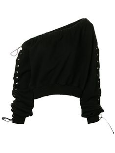 Black cotton Maglia cropped jumper from Unravel featuring an off the shoulder design, elasticated neckline, logo patch and laced sleeves with ties at the cuffs. Grunge Outfits, Edgy Outfits, Mode Outfits, Girls Fashion Clothes, Teen Fashion Outfits, Outfits For Teens, Girl Outfits, Teenager Fashion, Clothes For Women