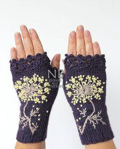 36d17b3119803 Tricoté des mitaines fleur gants et mitaines idées cadeaux Les Accessoires  De L'hiver,