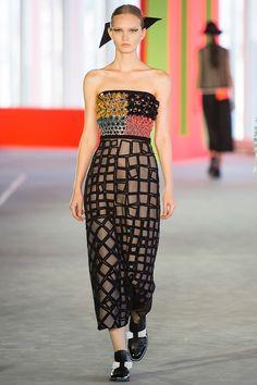 Really odd designed Roksanda Ilincic dress with contrasting squares/flower designs. I quite like the colours, though!