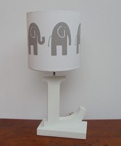 Small Handmade Elephant Drum Lamp Shade  White by PerrelleDesigns