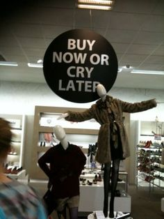 Buy Now or Cry Later is your pre-seasonal clearance promo in your consignment or resale shop, says TGtbT.com