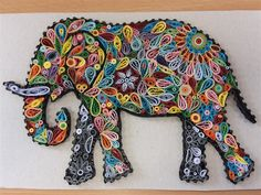 Quilled elephant by CloverS