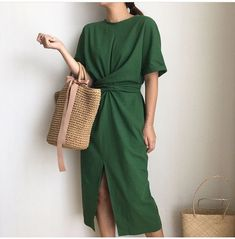 Elegant Twist Tie Waist and Front Slit Midi Dress 3 Colors is part of fashion Design Inspiration Nature - Linen Blend Sleeve Style Regular Pattern Type Solid Dresses Length MidCalf Decoration None Neckline ONeck Waistline Natural Mode Outfits, Dress Outfits, Fashion Outfits, Green Dress Outfit, Womens Fashion, Green Dress Casual, Fashion Vest, Ladies Fashion, Fashion Ideas