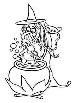 Funny halloween Witch and cat coloring page for kids, printable free - Happy Halloween