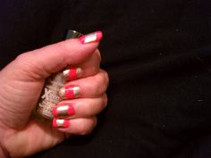 Another shot of gold and coral modified half moon mani.  I used flexible bandages (aka Band-aids) for this one