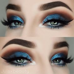 Gorgeous Anastasia Beverly Hills metallic blue shadow with dark brown crease. Gorgeous quirky combination.