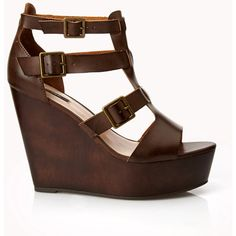 Faux Leather Gladiator Wedges (1.355 RUB) ❤ liked on Polyvore featuring shoes, sandals, wedges, heels, zapatos, brown, gladiator wedge sandals, brown heel sandals, brown gladiator sandals and wedge sandals