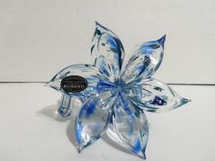 Beautiful Murano Hand Made Art Sculpture Blue 6 Petal Glass Flower Made In Italy  ( I own a similar one!)