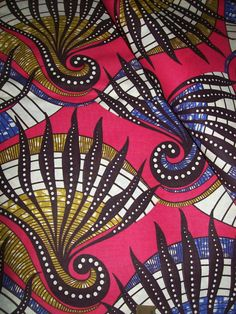 African print Dutch Wax fabric per yard Coral by tambocollection, $8.00