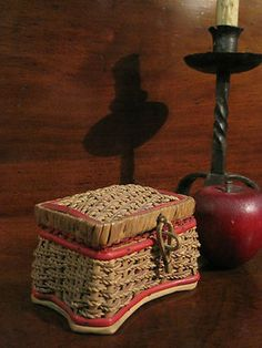 Antique 1800s Miniature Salesman Sample Lined Sewing Basket  Sold North Bayshore Antiques