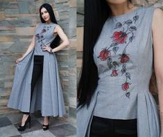 Discover thousands of images about Costumes handmade. Order Exclusive dress with embroidery 'Flying walk you came from may. Western Dresses, Indian Dresses, Indian Outfits, Kurti Neck Designs, Blouse Designs, Dress Designs, Stylish Dresses, Fashion Dresses, Fancy Suit