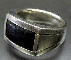 BAILEY BANKS & BIDDLE STERLING SILVER BLACK LEATHER SOLID MEN'S RING - SIZE 10.5