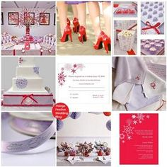 lavender and red winter Wedding Theme