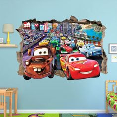 ON SALE DISNEY Cars 3d Wall Sticker Smashed door SuperTopWallDecals